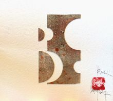 80 X 80, composición de cera y acrílico pisado en papel, recorte de soporte de vino - papel 640 gr.