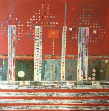 1.40 x 1.40 - Orita, acrílico y oleo - lienzo y papel