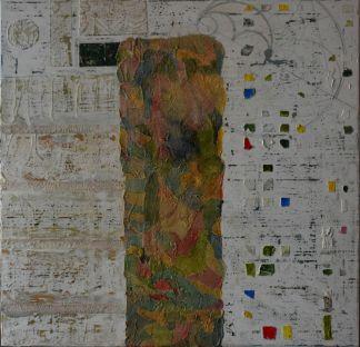 90x90 lienzo y bastidor de madera, orita, Stucco, Acrílico y tinta china