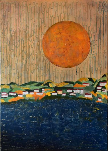83 x 116 Lienzo y bastidor de madera, Orita, pasta de mármol, esmalte y acrílico